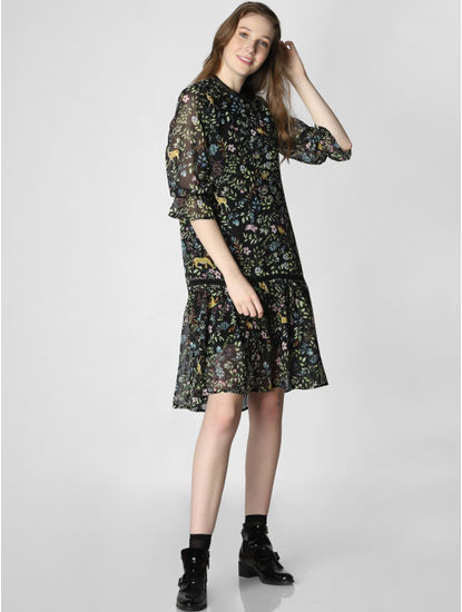 X Lion King Black Tropical Print Drop Waist Shift Dress