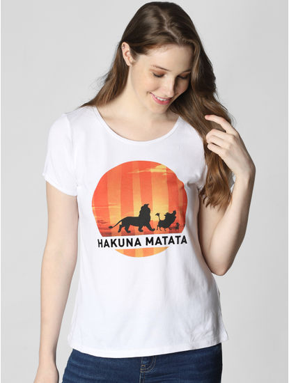 X Lion King White Hakuna Matata Print T-Shirt