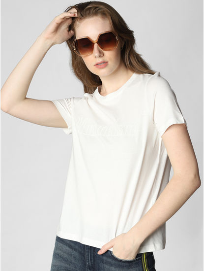 White Minimalism Text Print T-shirt