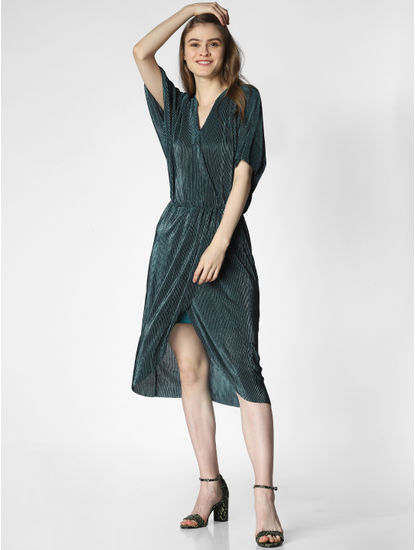Green Corduroy Wrap Fit & Flare Dress
