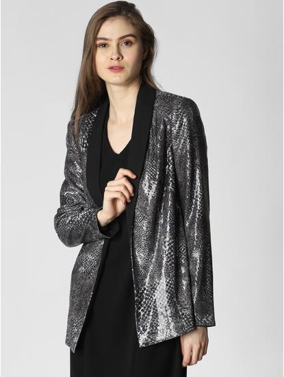 Black Printed Sequin Embellished Blazer