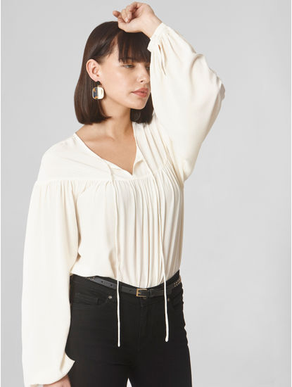 Off White Peasant Top