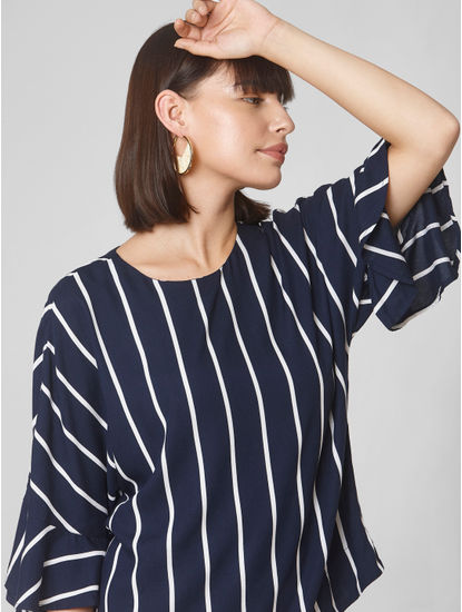 Dark Blue Striped Flared Sleeves Top