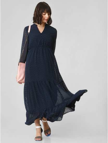 Dark Blue Chevron Striped Maxi Dress