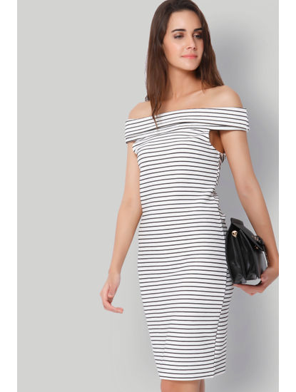 White Striped Off Shoulder Dress