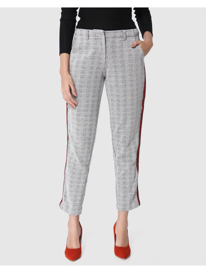 Grey Mid Rise Tape Detail Pants