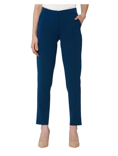 Blue Mid Rise Regular Fit Pants