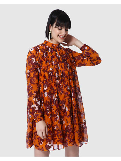 Orange Floral Print Pleated Dress