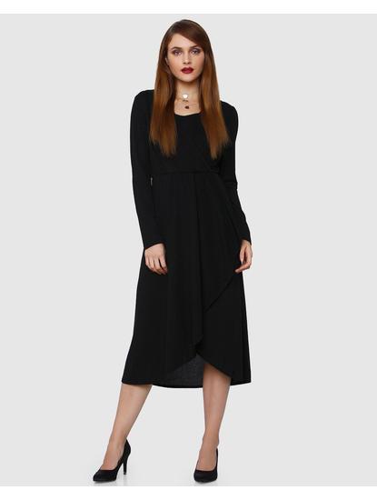 Black Drape Midi Dress