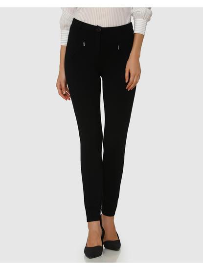 Black Mid Rise Skinny Fit Pants
