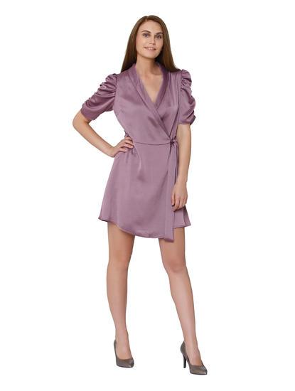 Mauve Wrap Fit & Flare Dress