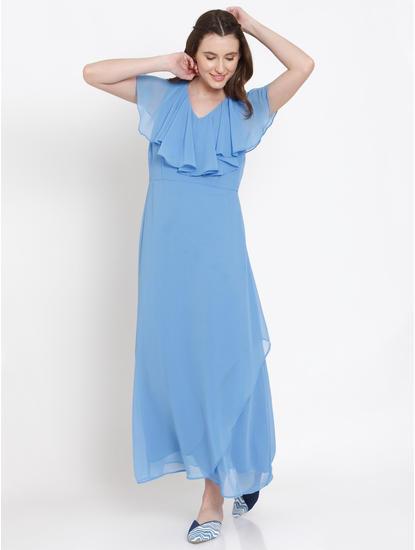 Blue Ruffle Neck Maxi Dress