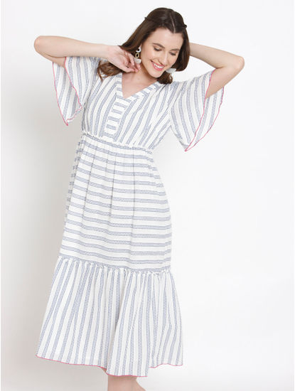 White Striped Flared Midi Dress