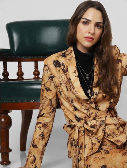 Light Brown Floral Belted Blazer