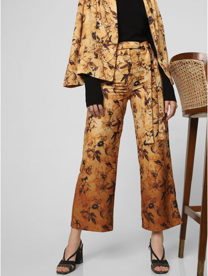 Light Brown Mid Rise Floral Print Pants