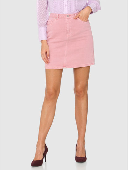 Pink Mid Rise Mini Denim Skirt
