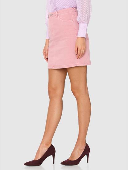 Pink Mid Rise Mini Denim Skirt