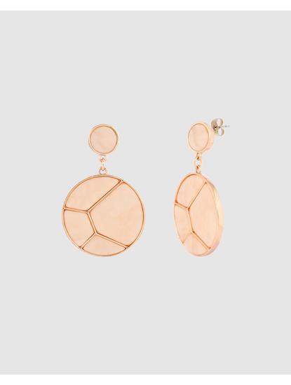 Rose Gold Colour Disc Drop Earrings