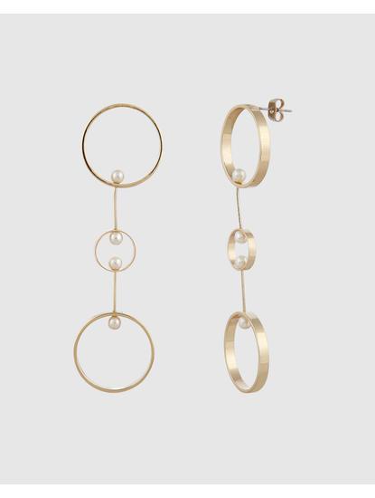 Gold Colour Hoop Drop Earrings