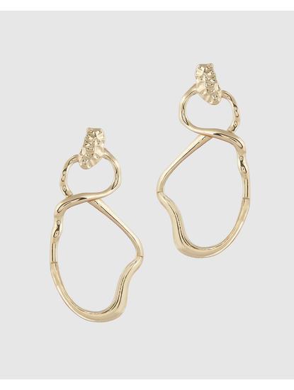 Gold Colour Asymmetric Drop Earrings