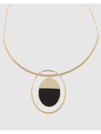 Gold Colour Hoop And Disc Pendant Necklace