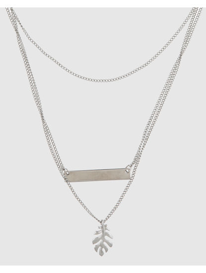 Silver Leaf Pendant Layered Necklace