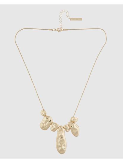 Gold Colour Textured Disc Necklace Set