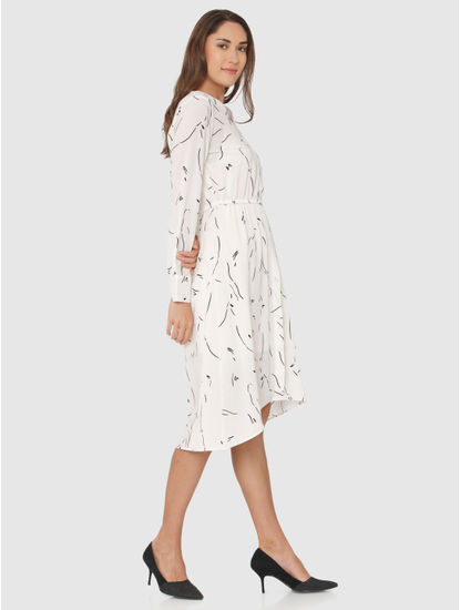 White Printed Midi Dress