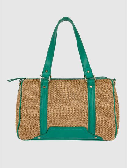 Beige And Green Duffel Bag