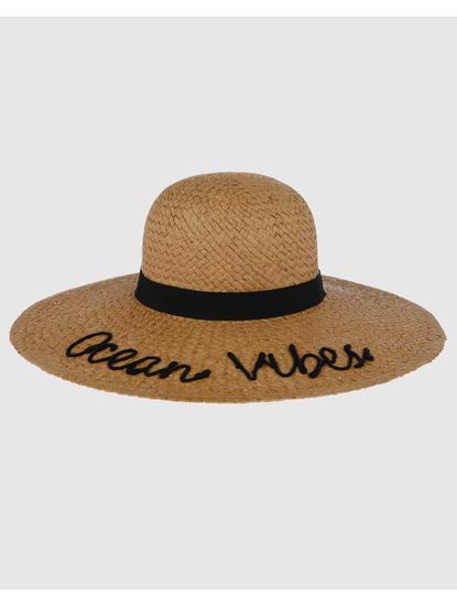 Beige Text Print Straw Beach Hat