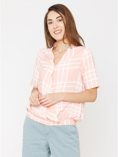 Coral Check Top