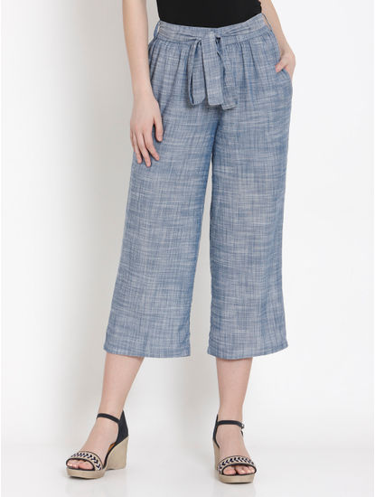 Blue Tie Up Belt Pants