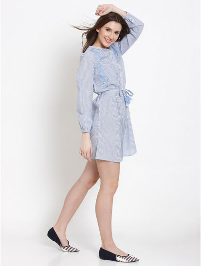 Blue Striped Embroidered Shirt Dress