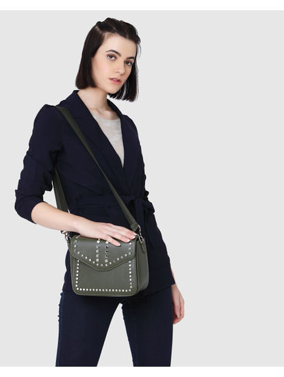 Dark Green Studded Sling Bag