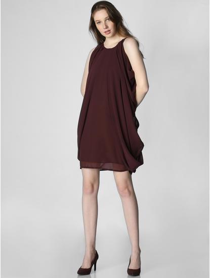 Burgundy Cowl Shift Dress