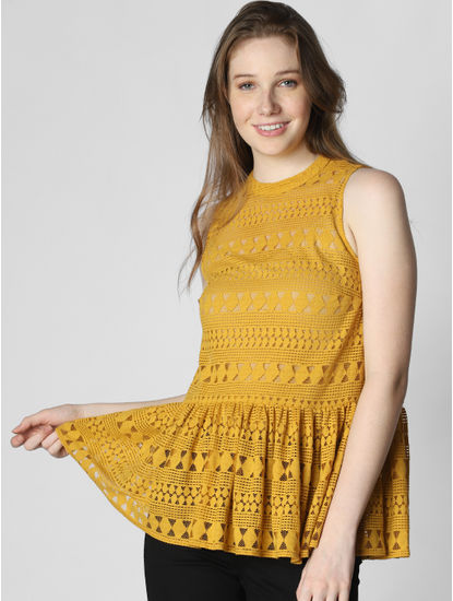Mustard Cut Work Lace Top