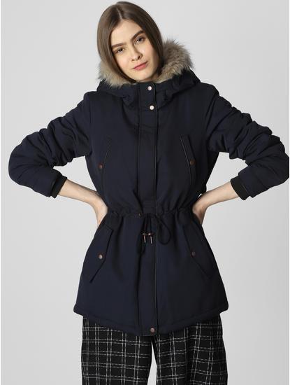 Navy Blue Fur Hooded Jacket