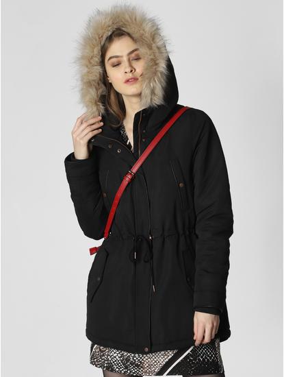 Black Fur Hooded Jacket