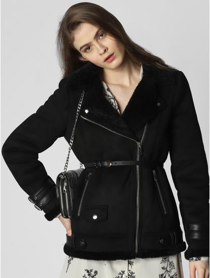 Black Buckle Faux Shearling Jacket