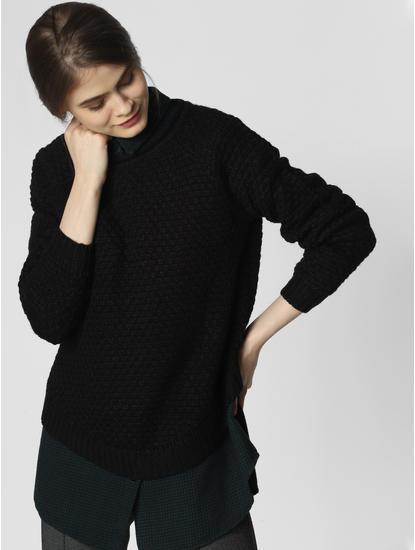 Black Textured Pullover
