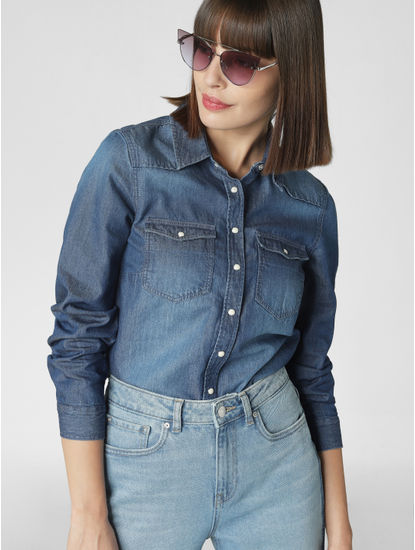 Blue Button Down Denim Shirt