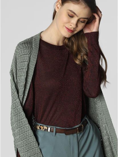 Burgundy Shimmer Pullover