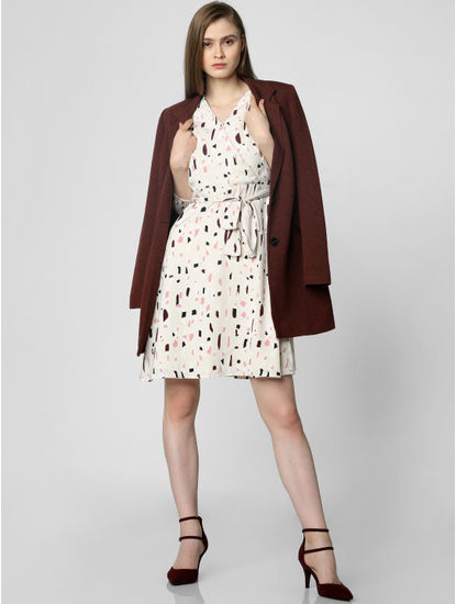Cream All Over Print Fit & Flare Dress