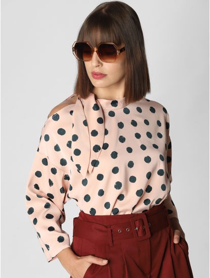 Pink Polka Dot Print Top