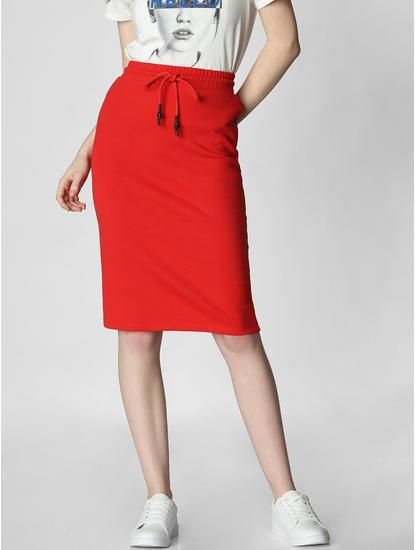 Red High Rise Drawstring Pencil Skirt