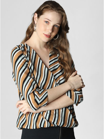 Brown Striped Top
