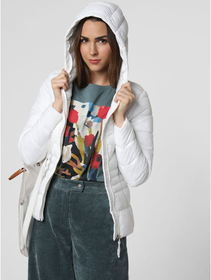 White Hooded Puffer Jacket