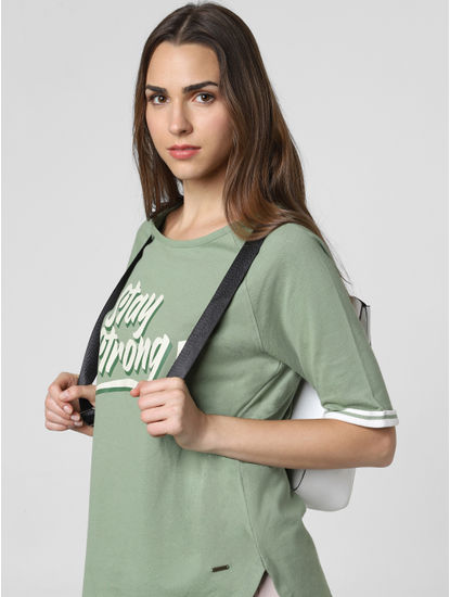 Green Stay Strong Print T-Shirt