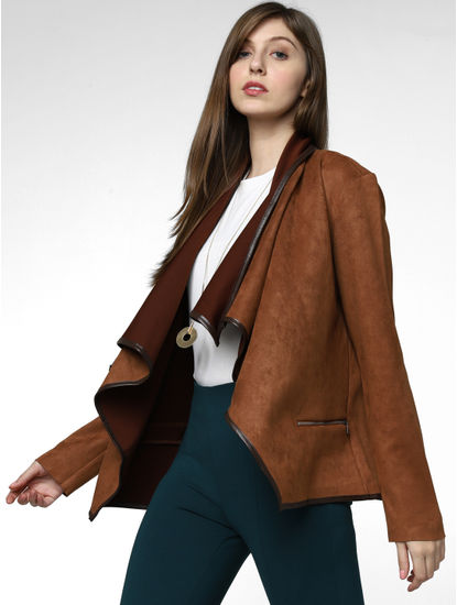 Brown Colourblocked Waterfall Jacket
