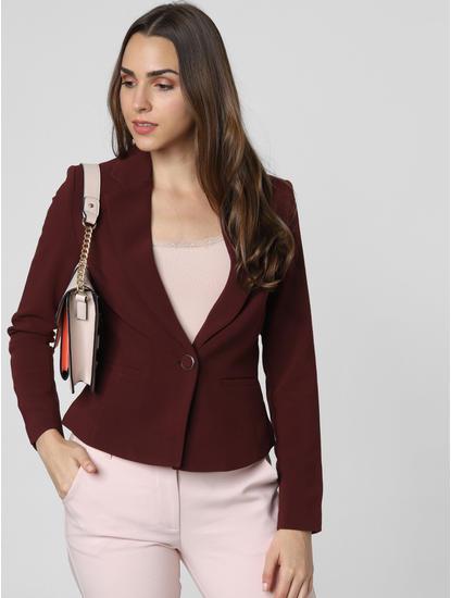 Burgundy Single Button Formal Blazer